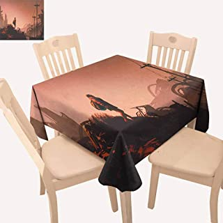 UHOO2018 Fantasy,Wrinkle Resistant Tablecloth Cartoon Woman Hiker Looks at The Abandoned Destroyed City Urban Lonely Person Image for Summer & Outdoor Picnics Pink Red 52