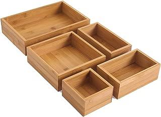 BonusAll 5-Piece Bamboo Storage Box Drawer Organizer Set Storage Organizer Divider for Office Desk Supplies and Accessories