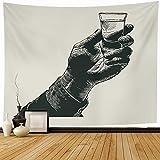 Tapiz Colgante de pared Logotipo Vidrio Mano sosteniendo un trago Alcohol Bebida Tostada Comida Vintage Whisky Tequila Bar Whisky Vodka Decoración para el hogar Tapices Decorativos Dormitorio Sala de