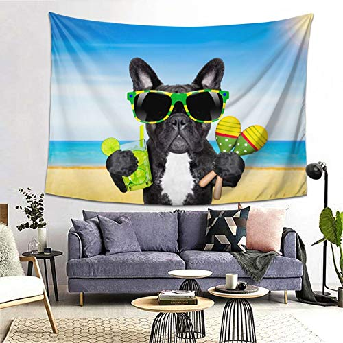 LEEYIEN Tapestry - Beach Funny Brazil French Bulldog Tapestry Wall Hanging As Wall Art and Home Decor for Bedroom Living Room Dorm Decor