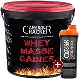 Whey Masse Gainer, Eiweisspulver, 3000g Eimer, Erdbeer Geschmack + Proteinshaker, Sonderangebot Anabol Cracker