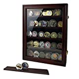 ASmileIndeep Military Challenge Coin Display Case Cabinet Rack Holder Shadow Box with Glass Door (Mahogany Finish)