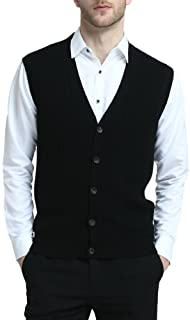Kallspin Relaxed Fit Mens V-Neck Cable Knit Cashmere Sweater Vest with Front Button