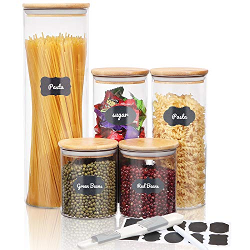 SAWAKE Glass Canisters Set for Kitchen Counter, Clear Glass Food Storage Jars with Airtight Bamboo Lids for Pasta, Flour, Rice, Sugar, Coffee - include Measuring Spoon, Labels & Marker (Set of 5)