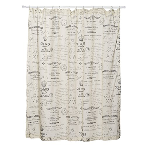 Levtex Home - Histoire - Shower Curtain with Grommets - One Shower Curtain Panel 72 inch Length, 72 inch Width - French-Inspired Toile - Charcoal, Cream - 100% Cotton - Lined
