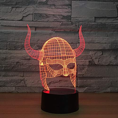 3d Illusion Casco vikingo Lámpara luces de la noche ajustable 7 colores LED 3d Creative estéreo visual atmósfera mesa regalo para Navidad,Interruptor tacto
