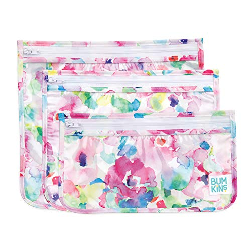 Bumkins TSA Approved Toiletry Bag, Travel Bag, Quart Zip Pouch, PVC-Free, Vinyl-Free, Clear Sided, Set of 3 – Watercolor, 5'