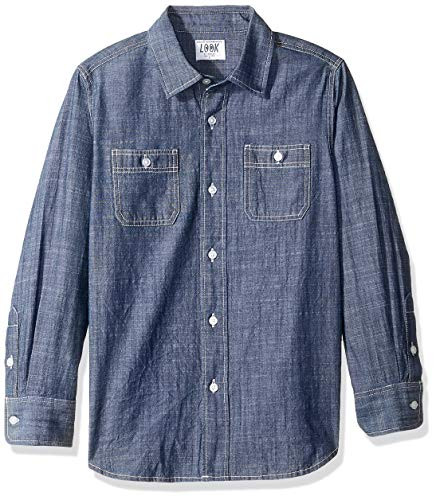 LOOK by crewcuts Jungen Chambray-Hemd, Langarm, Medium Wash Blue, S