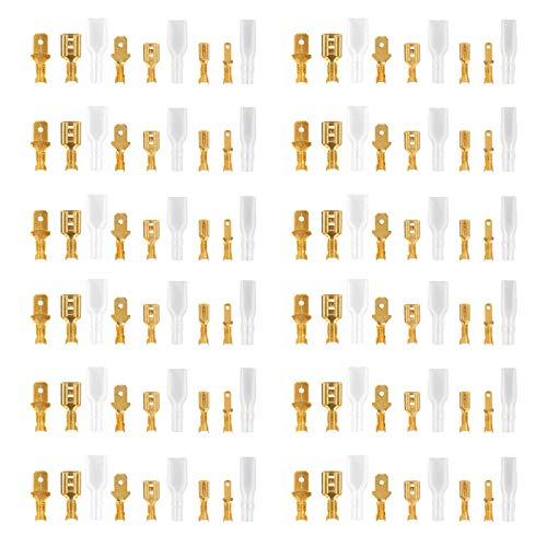 Flachsteckhülsen Set Männlich Weiblich Flachstecker Männlich und Weiblich Kabelstecker Set Flachsteckhülse mit Isolierhülse Sleeve Sortiment Kit, Golden, 315 Stücke, (2,8 mm 4,8 mm 6,3 mm)