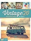 Vintage - Wochenplaner 2020, Wandkalender im Hochformat (25x33 cm) - Nostalgie im Retro-Look -Wochenkalender mit Rätseln und Sudoku auf der Rückseite