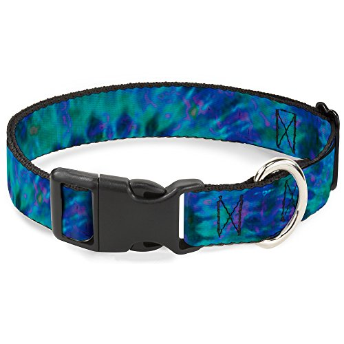 Buckle-Down Plastic Clip Collar - Tie Dye Green/Blue/Purple - 1' Wide - Fits 15-26' Neck - Large