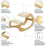Ergonomischer Kniestuhl für Sitzkorrektur – Kniehocker Sitzhocker für Zuhause Büro Meditation - Holz & Leinen Kissen – Rückenschmerzen Nackenschmerzen Lindern & Körperhaltung Verbessern (weiße Eiche) - 6