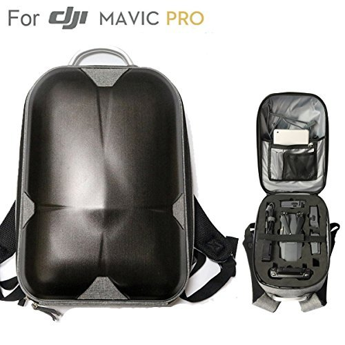 "DJI Mavic Pro Hard Shell Backpack, Upgraded Most Compact Hardshell Case (13.5x 9.3x 5.7"" Only & Could Carry 3 Batteries) Waterproof Anti-Shock PC Carrying bag or Mavic Pro and Accessories"