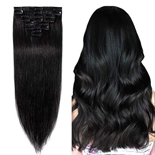 Extension a Clip Cheveux Naturel Type Fin - Rajout Vrai Cheveux Humain - 8 Bandes (#01 Noir foncé, 20 cm (45 g))