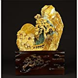Escultura Ornamentos Decoración de piedra de jade gran feng shui decoración para la escultura de la escultura de la oficina y la escultura de la escultura de la oficina coleccionable Decoración del Es