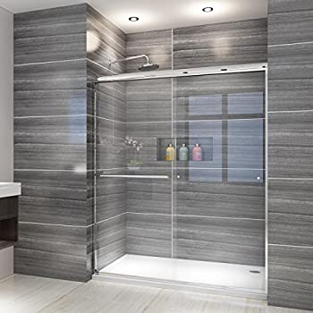 ELEGANT Semi-Frameless Sliding Shower Door 60  W x 72  H Bathroom Shower Enclosure with 1/4 in Tempered Clear Glass Shower Panel and Stainless Steel Hardware in Chrome Finish Double Sliding Doors