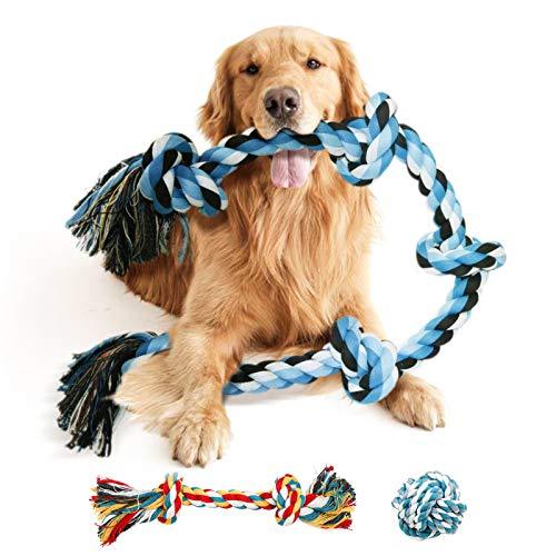 Hundespielzeug Seil für große Hunde,Kauspielzeug Spielseil mit 5 Knoten, Tau Seil Hundespielzeug unzerstörbar, Interaktives intelligenzspielzeug für Aggressive Kauen/Hund Seil Spielzeug Set (Blau)