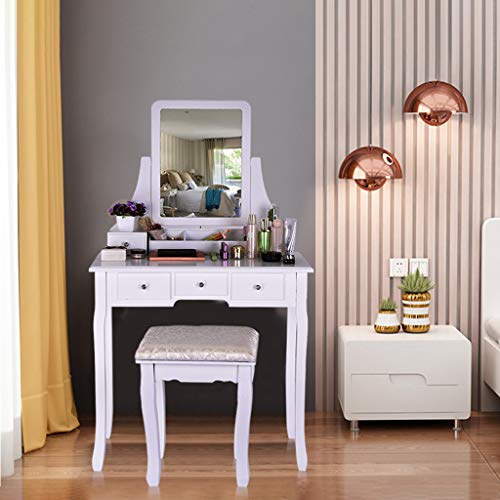 New ALOVEMO Vanity Set with Mirror & Cushioned Stool Dressing Table Vanity Makeup Table 5 Drawers 2 ...