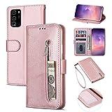 ZTOFERA Samsung A52 Hülle, Magnetisch Folio Flip Wallet Leder Standfunktion Reißverschluss schutzhülle mit Trageschlaufe, Brieftasche Hülle für Samsung Galaxy A52/A52 5G - Roségold
