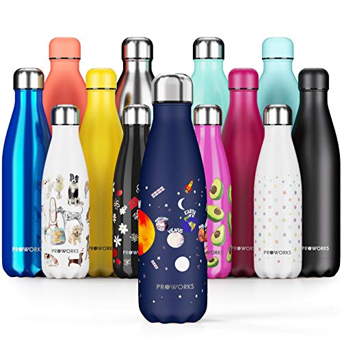 Proworks Edelstahl Trinkflasche   24 Std. Kalt und 12 Std. Heiß - Vakuum Wasserflasche - Isolierflasche für Sport, Laufen, Fahrrad, Yoga und Camping - 500ml - Mitternachtsblaue Planeten