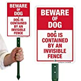 """SmartSignBeware of Dog Sign, Dog Contained by an Invisible Fence Sign for Yard, Lawn  21"""" Bend-Proof Stake & Metal Sign Kit, 10x7 Inch, Aluminum"""