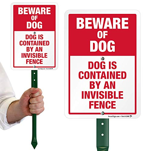 """SmartSignBeware of Dog Sign, Dog Contained by an Invisible Fence Sign for Yard, Lawn