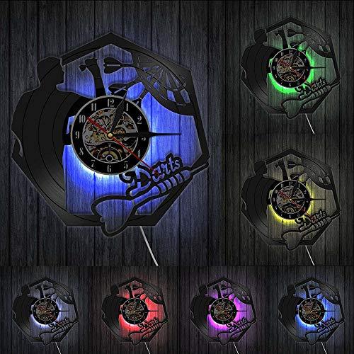 Wanduhren Darts Wandkunst Mann Höhle Spielzimmer Dekoration Moderne Wanduhr Dartscheibe Pub Bar Darts Spiel Nachtclub Schallplatte Wanduhr Beleuchtet