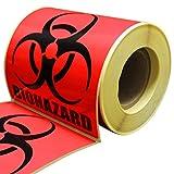 Biohazard Warning Label, 2' x 2',  250 Labels Per Roll, Coated Paper, Universal Biohazard Symbol, Self-Adhesive