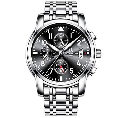 RORIOS Hombres Relojes de Pulsera Cuarzo Analógico Acero Inoxidable Business Calendario Cronógrafo Timer