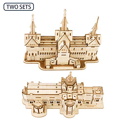 ROBOX 3D Puzzles for Adults Crafts Thai Style Building Two Sets(Twelve Throne Room and Building) 3ds Puzzle Wood Craft Model Kit 3D-Puzzle Wooden Puzzles for Kids Home House Decoration Gifts