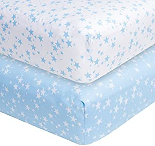 Frenchie Mini Couture Blue Stars 2-Pack Fitted Crib Sheets, boy