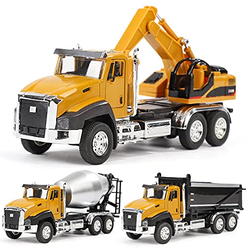 Xbswhm Juego de Vehículos de Ingeniería de Juguete para Niños, Paquete de 3, Modelos de Coches Coleccionables de Metal a Escala 1:50, Camión Volquete, Excavadora, Camión Mezclador para Niños
