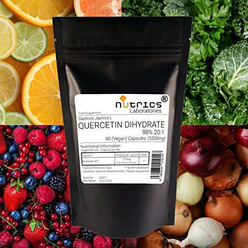 Nutrics 5500mg QUERCETIN DIHYDRATO 98% | 360 capsule vegane (1 anno) | Made in UK da Nutrics Laboratories | Adatto per vegan vegetarian halal kosher