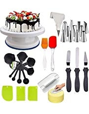 C&G INDIA Cake Decorating Kits Cake Turn Table, 12 Numbered Tips, 3 Icing Spatula, 3 Scraper, 1 Silicone Piping Bag, 1 Set Brush Spatula, 8 PC Measuring Cup and Spoons (White)