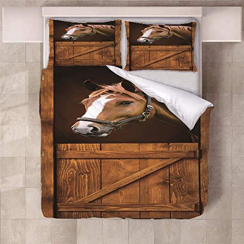 Jior Home Art beddengoedset van microvezel, 3-delig, 1 dekbedovertrek en 2 kussenslopen, hypoallergeen, kreukvrij, anti-mijt, paard, bruin
