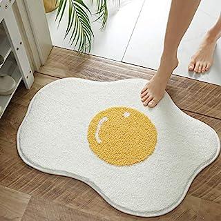 Fancy Soft Cute Yolk Egg Shape Bath Mat for Kids Cartoon Plush Water Absorbent Bathroom Decor Mat Bathtub Rug White Childr...