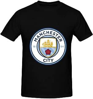 EERFIY Men's Manchester City FC Logo 3D Print Crewneck Short Sleeve T-Shirts Fashion Sports Tops