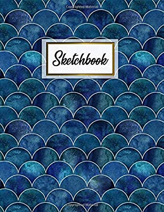 Sketchbook: Nifty Large Blank Sketchbook with Ample Crisp White Pages for Drawing, Sketching, Doodling and More. Cute Extra Large XL Notebook with a Softback Cover - Dark Blue and Gold Mermaid Waves Print