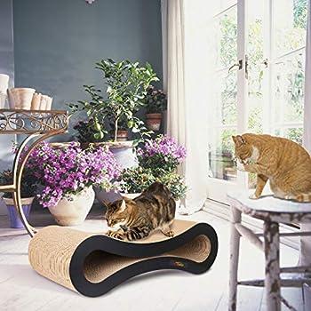 PetCheer Griffoirs pour chats, Chat Griffoirs, Carton Ondulé pour Chat, Chat Planche à Gratter, Jouets à l'herbe à chat [Carton et Construction de qualité supérieure 50 x 23 x 15 cm]