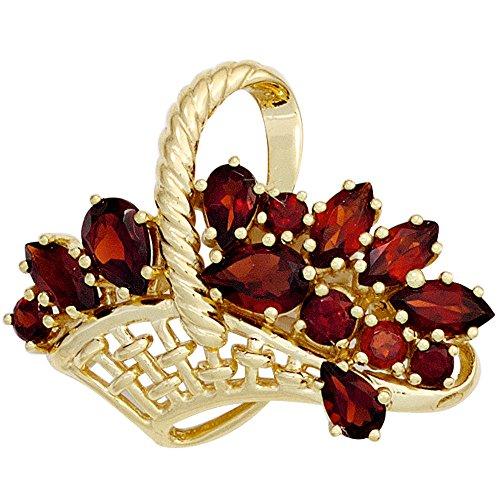 Broche Pin con cesta de flores de oro y piedras preciosas granate{333} para mujer