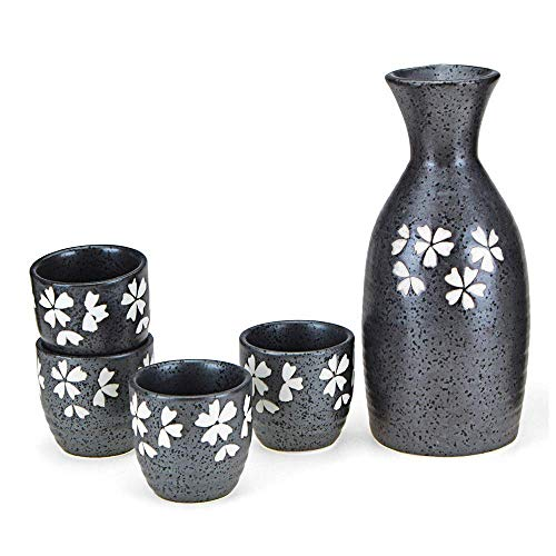n.g. Wohnzimmerzubehör 5-teiliges Sake-Set Japanisches Sake-Tassen-Set Traditionelles handbemaltes schwarzes Design Keramiktassen Urige Textur für Kalt/Warm/Shochu/Tee Teeservice Tea