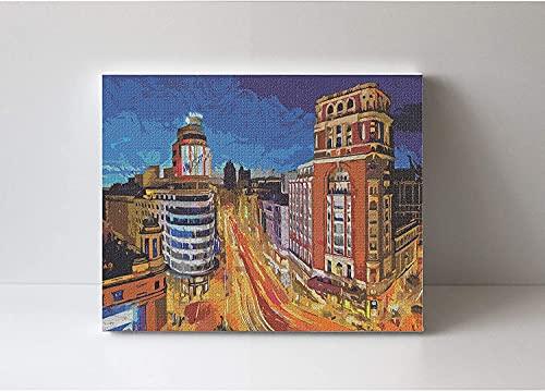 Natthink Pintar por números Adultos con Marco de Madera - Madrid. Kit de Pintura por números con Pinturas y Pinceles. 50x40 cm. Paisaje Gran Vía Madrid - España (con Marco)