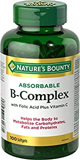 Nature's Bounty B Complex w/Folic Acid plus Vitamin C, Helps Metabolize Carbohydrates, 100 Softgels (B00BMEI7N0) | Amazon price tracker / tracking, Amazon price history charts, Amazon price watches, Amazon price drop alerts