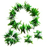 Fortuning's JDS Hawaiian Green Leaves Flowers Elasticity Garland Beach Ceremony Party Favors (4Pcs)