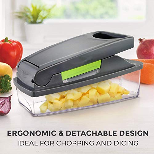 Onion Chopper Vegetable Chopper-Heavy Duty Vegetable Slicer, Dicing Machine, Slicer, with Container and 4 Blades