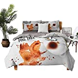 DRAGON VINES Bed Sheets Coffee Art Coffee Makes You Feel Free Theme with Abstract Bird Silhouette Bed Sheets Full Set Burnt Sienna Black White W103 xL90
