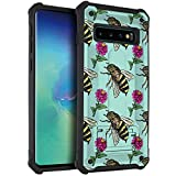 CasesOnDeck Hybrid Case Compatible with [Samsung Galaxy S10+ / S10 Plus (6.4')] [Stand Guard] Slim Fitted Shock Combat Cover with Kickstand -Bees