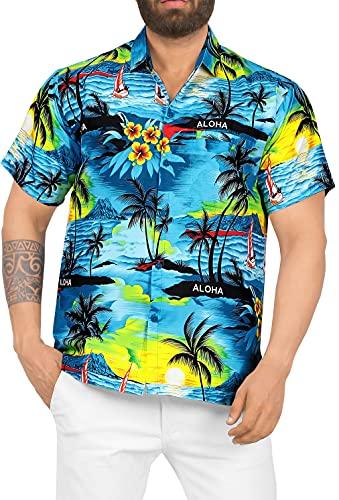 LA LEELA Shirt Camicia Hawaiana Uomo XS - 5XL Manica Corta Hawaii Tasca-Frontale Stampa Hawaiano Casuale Regular Fit Blu Ottanio538 3XL