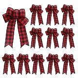 DUDNJC 12 lazos decorativos de arpillera a cuadros de búfalo, 23,9 cm, lazos grandes, lazo para decoración de árbol hecho a mano, corona de Navidad para fiestas de Navidad (cuadros rojos)