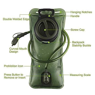 SurviveDis Hydration Bladder 2 Liter Leak Proof Water Storage Reservoir Bag, BPA Free, Pack Replacement, for Hiking Biking Climbing Cycling Running, Large Opening, Military Green